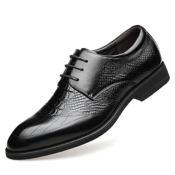 2019 New Men's Quality Genuine Leather Shoes Crocodile pattern Shoes Size 37-44 Black Soft Man Top Real Business Leather Shoes