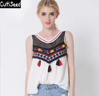 2016 Newest Vintage Embroidered Vest Jacket Women Round Neck Colorful Tassel Sleeveless Camisole Vest Tops Bustier