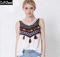 2016 Newest Vintage Embroidered Vest Jacket Women Round Neck Colorful Tassel Sleeveless Camisole Vest Tops Bustier