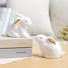 hot deal buy lx ceramic rabbit figurine animal statue home furnishing decor birthday present office desk decoration ornament home decor