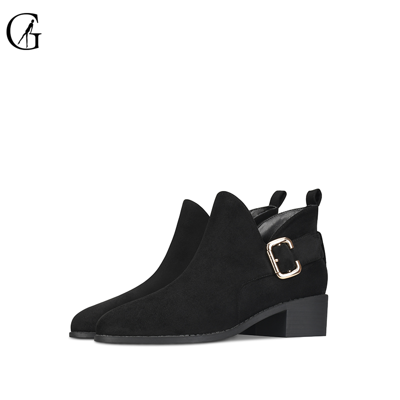 GOXEOU 2019 New Fashion Women Boots Short Boots Ankle Boots Square Heel Round Toe Party Office Fur Handmade Free Shipping in Ankle Boots from Shoes