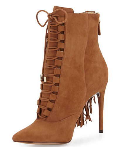 laides gorgeous brown suede pointed toe lace up ankle boots thin high heel back drape fringe dress pumps tassel party shoes empire waist drape baggy dress page 9