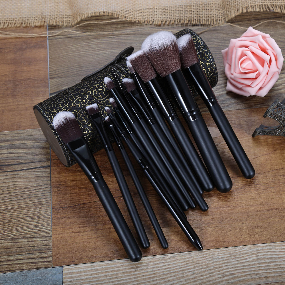 Luxurious 12Pcs Makeup Brush Kit Pro Synthetic Cosmetic Brush Foundation Eyeshadow Eyeliner Brush Kits maquiagem PU Cup Leather