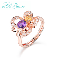 I&Zuan 925 Sterling Silver Fine Jewelry Diamond Butterfly Rings For Women Amethyst Purple Ring Rose Gold Plated Party Gift 7511
