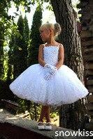 かわいいホワイト/アイボリー膝丈スパンコールフラワーガールのドレス誕生日ページェント華やかさボールガウン初聖体frocksため子供