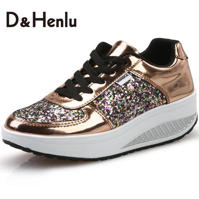 {D&H}Cool Gold Sequined Spring/Autumn Shoes Women Casual Shoes Sport Fashion Walking Shoes Swing Wedges Shoes Woman Ankle Boots