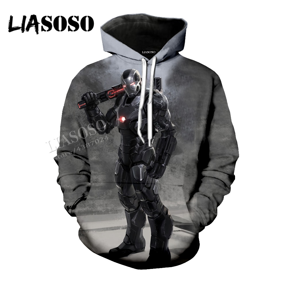 LIASOSO Neutral Quality Pullover Marvel Comics Series 3D Print Iron Man Top / sweatshirt / Hooded top / Zip Hoodie CX063