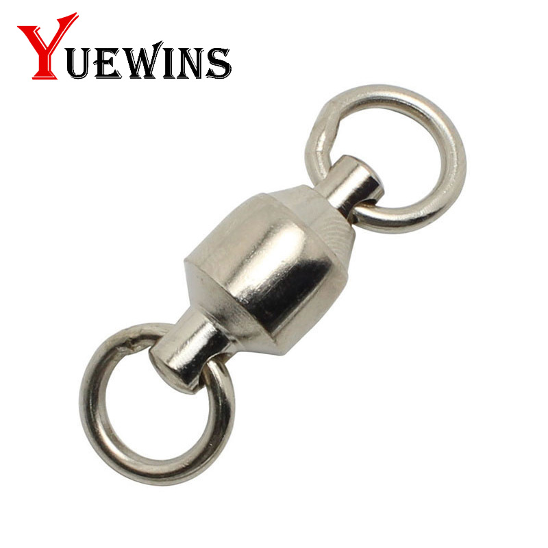 Yuewins 10pcs Heavy Duty Ball Bearing Barrel Fishing Rolling Swivel Stainless Steel Connector Solid Ring Fishing Tackle QA295