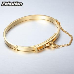 Image 3 - Enfashion בטיחות שרשרת קאף צמיד Noeud armband זהב צבע פלדת צמיד צמיד לנשים צמידי צמידי Pulseiras B8758