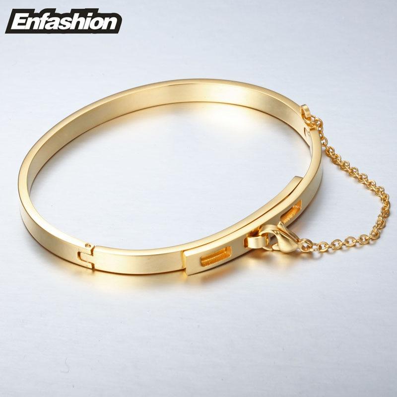 Enfashion Säkerhetskedja Manschettknapp Noeud Armband Guldfärg - Märkessmycken - Foto 4