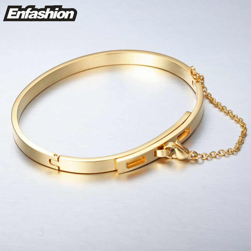 Enfashion łańcuch bezpieczeństwa bransoletka mankiet Noeud armband złoty kolor bransoletka bransoletka dla kobiet bransoletki Manchette Pulseiras