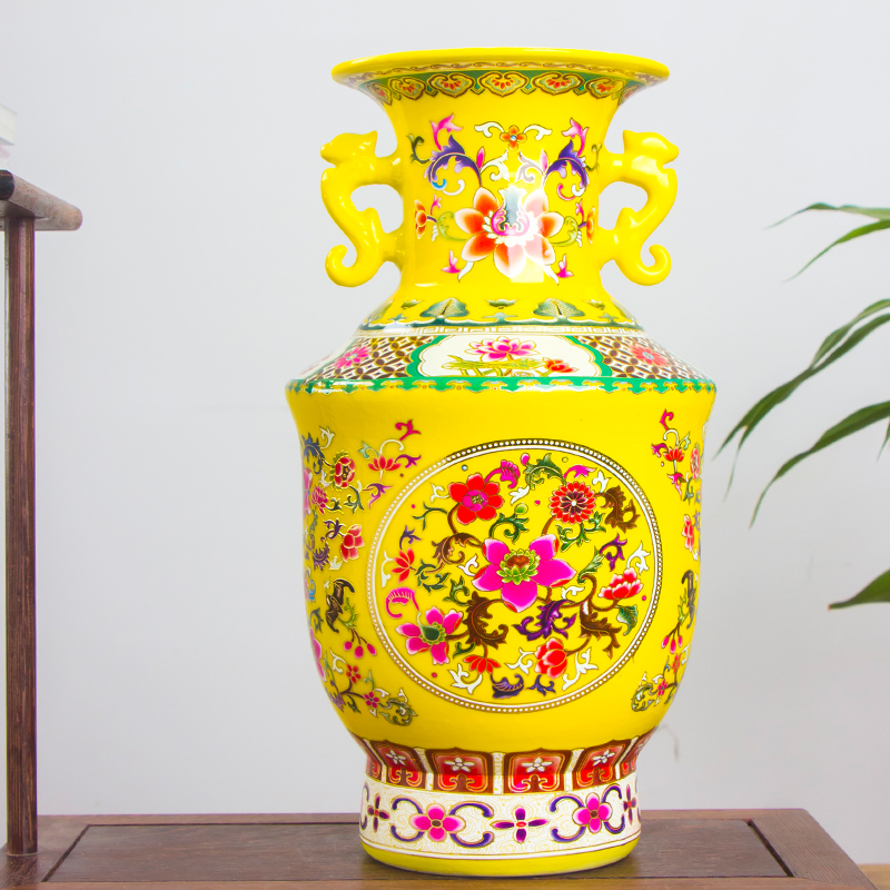Jingdezhen Antique Ancient Enamel Chinese Ceramic Flower Vase Home Office Decorative Double Ears King Porcelain Vases vase