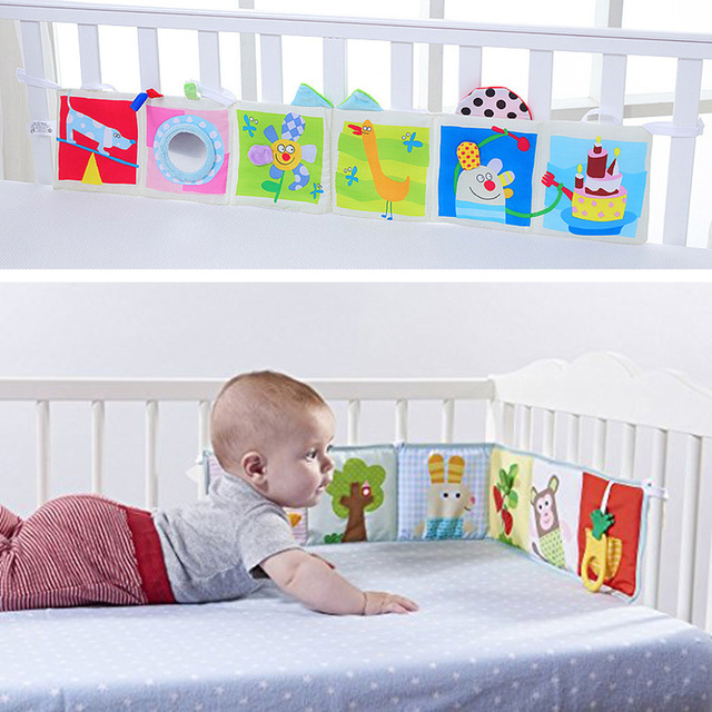 Baby Toys Crib Bumper Cartoon Animal Cloth Book Baby Rattle Knowledge Around Educational Toys For Children Colorful Bed Bumper | Happy Baby Mama