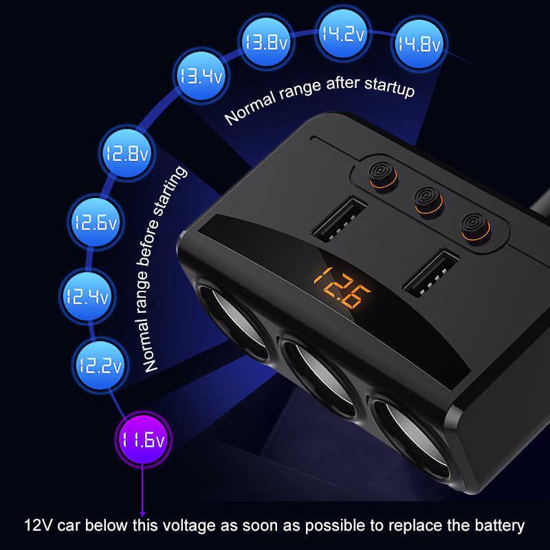 Universal Car USB Cigarette Lighter Socket Splitter 12V-24V Power Adapter Max 5V 3.1A 2 USB Car Charger with Voltmeter LCD