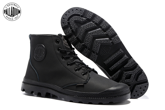 1f4215eb78b PALLADIUM Classic All Black Men's Leather High Upper Army Boots For Female  Slip Resistant Bottom Casual Military Shoes 40 44-in Motorcycle boots from  Shoes ...