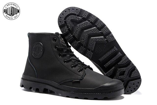 gdzie kupić niskie ceny najlepiej kochany US $57.6 20% OFF|PALLADIUM klasyczny wszystkie czarne męskie skórzane  wysokie górne buty wojskowe dla kobiet antypoślizgowe dno dorywczo buty  wojskowe ...