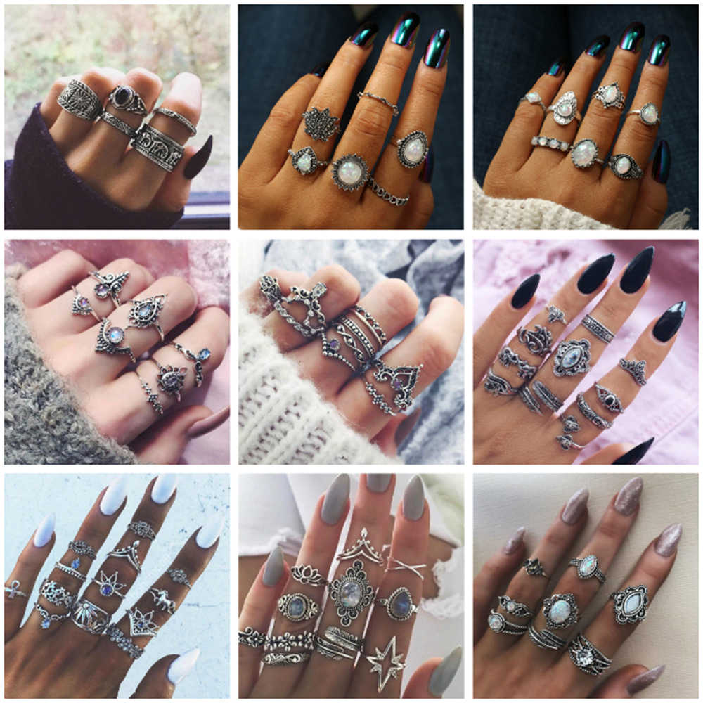HOMOD 2019 New Fashion Variety Vintage Ring Boho Ladies Ring Multi-Element Combination Ring Sets National Wind Girl Gifts
