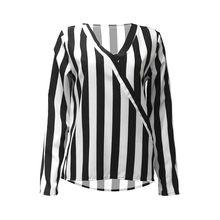 Womens Plus Size Long Sleeve Loose Pullover Tops Deep V-Neck Contrast Color Vertical Stripes Office Shirt Wrap Front Asymmetric недорого