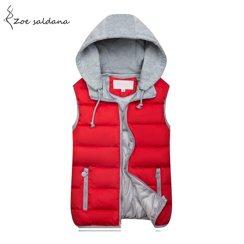 Zoe Saldana 2018 Frauen Kapuzenweste Frühling Winter Warme Baumwolle Gepolsterte Weste Sleeveless Reißverschluss Grund Mantel