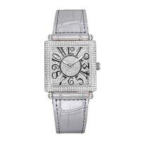 Новые квадратный женские кварцевые часы женские модные часы Топ Роскошные Брендовые женские часы водонепроницаемые кожаный браслет relogio