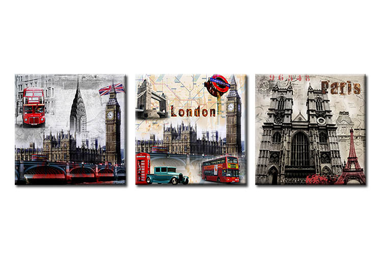 Framed art print picture wall art 3 piece canvas art london european architecture printed oil paintings landscape in painting calligraphy from home