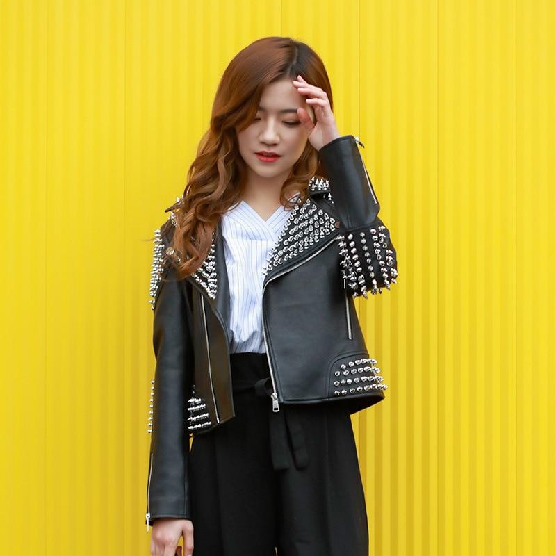 Women Punk Studded Leather Jacket Black 2018 Spring New Rivet Washed PU Biker Rock Fashion Coat