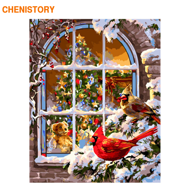 CHENISTORY Frame Christmas Snow DIY Painting By Numbers Landscape Modern Wall Art Picture Hand Painted Oil Painting For Home Art