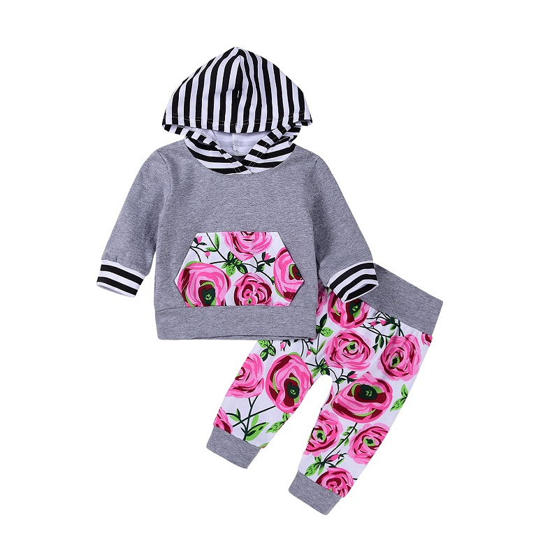 Baby Girls Pocket Striped Coat Hoodie Top Sweatshirt with Floral Pants Leggings 2Pcs Warm Outfits Set ship from USA