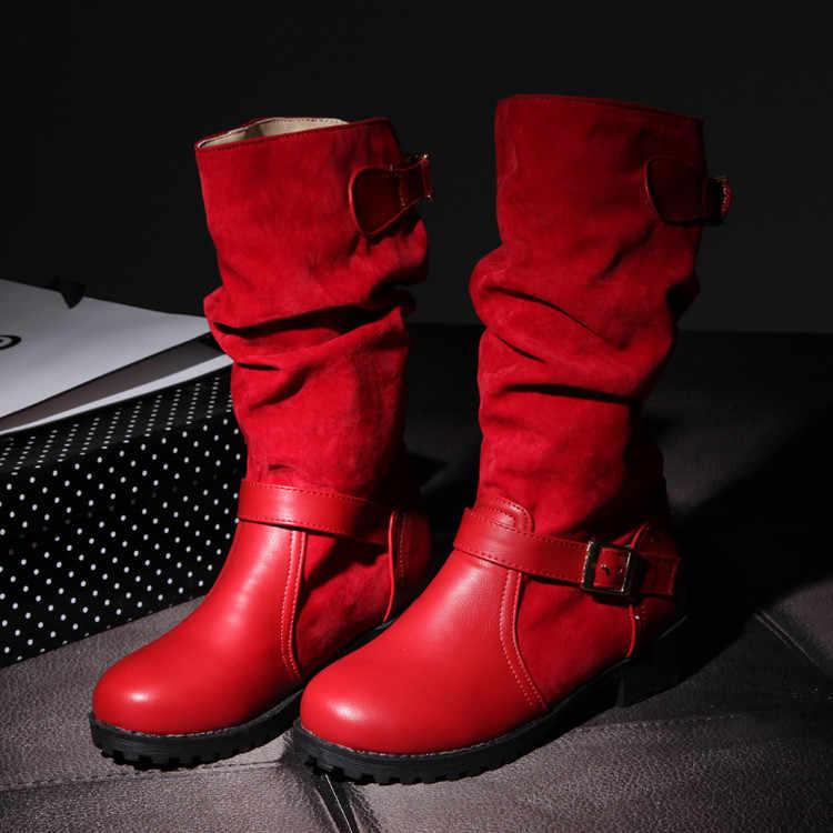 Брендовые осенне-зимние женские складные сапоги новые модные ремни с пряжкой короткие ботинки для девочек Повседневная обувь женские ботинки красного и серого цвета