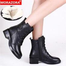 MORAZORA 2020 جديد الموضة الثلوج أحذية النساء جلد طبيعي حذاء من الجلد الدانتيل يصل البريدي ميد الكعوب منصة أحذية امرأة الشتاء الأحذية