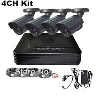 Home 4CH FULL D1 Mini DVR 4PCS 700TVL Waterproof EFFIO IR Camera CCTV System Kit