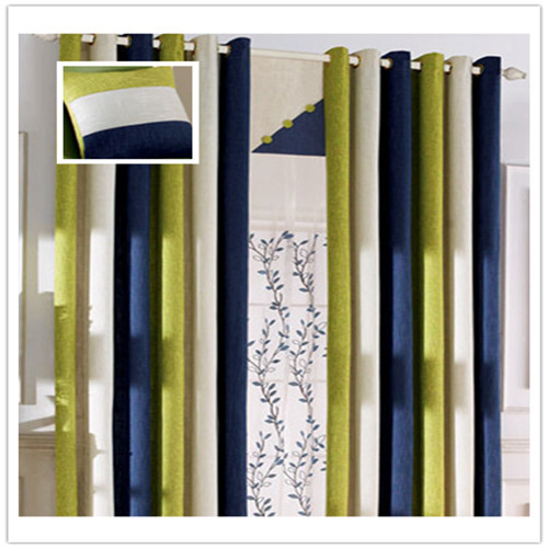 Cl Lss 038 Quality Hemp Modern Bedroom Curtain Tri Color Sching Blue