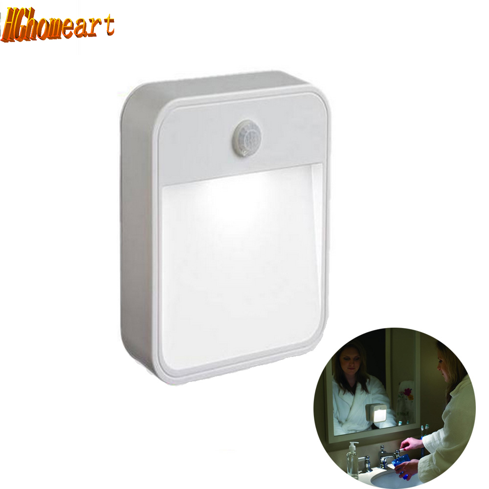 Lights with motion sensor Wall LED Night Light lamp battery powered wireless wall lamp bedside led 12v light night toilet light wireless led wall stick anywhere energy saving human body sensor motion sensing night light lamp decoration door