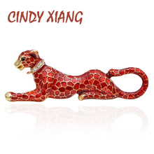 CINDY XIANG Red Enamel Leopard Brooches for Women Fashion Luxury Vivid Animal Pins New Design Coat Accessories Bag Jewelry Gift