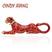 CINDY XIANG Red Enamel Leopard Brooches for Women Fashion Luxury Vivid Animal Pins New Design Coat Accessories Bag Jewelry Gift(China)
