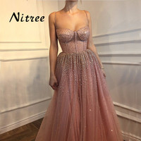 Robe de soiree Sexy Formal Sequins Evening Prom Party Dress Dubai Turkish Arabic Evening Gowns Dresses Aibye Abendkleider 2018