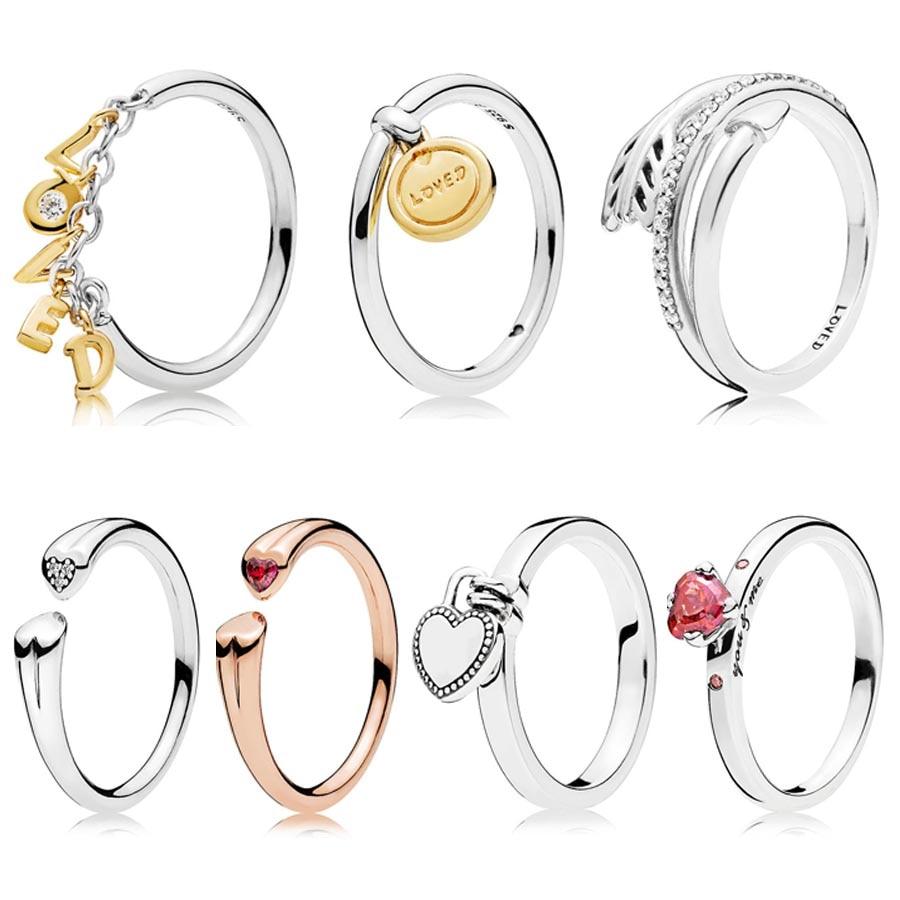 Glanz Medaillon der Liebe Geliebt Skript Pfeil Lock Ring 925 Sterling Silber Unterschrift Ring Für Frauen Hochzeit DIY Europa Schmuck