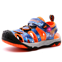 Dinoskulls Baby Boy Sandals Light Up Fashion Children Summer Shoes Non slip LED Beach Shoes for Boy 2019 Glowing Toddler Shoes