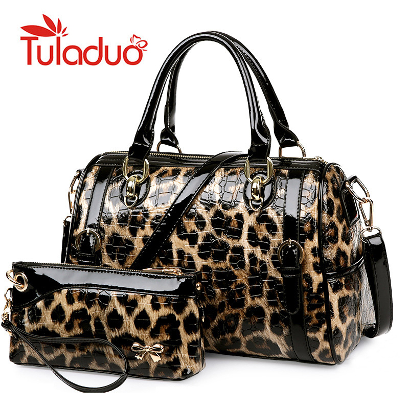 New 2017 Designer Purses and Handbags High Quality Patent Leather Luxury Leopard Women Bag Famous Brand
