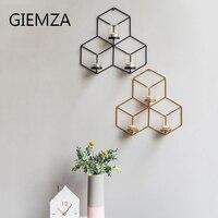 GIEMZA Lớn Hexagon Nến 3D Bắc Âu vàng Hiện Đại Kim Loại Nhỏ Gọn Nghệ Thuật Treo Tường Nến Thanh Lịch Độc Đáo Đơn Giản