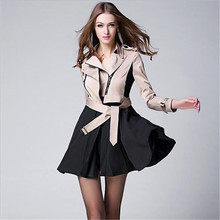 Euope 2016 New Winter Fashion Skirt Type Dovetail Stitching Trench Coat Women Slim Long Windbreaker Outerwear With Belt A1369