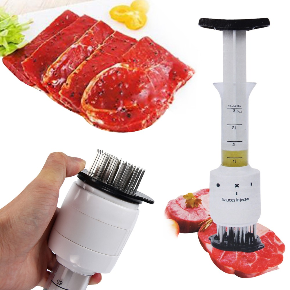 New Qualified Meat Meat Tenderizer Needle For Steak Meat Injector Marinade Flavor Syringe With Stainless Steel Kitchen Tools