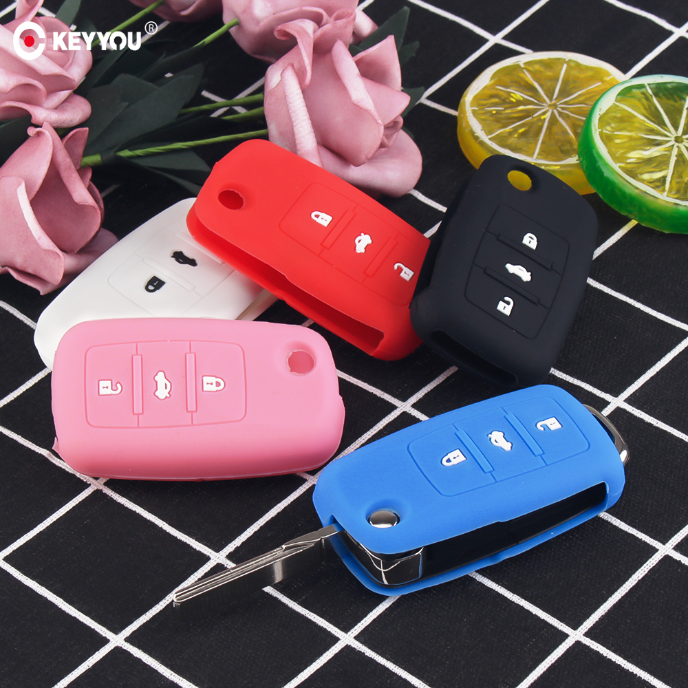 KEYYOU Hot Silicone Car Key Cover Case Shell Fob For VW Golf Bora Jetta POLO GOLF Passat Skoda Octavia A5 Fabia SEAT Ibiza Leon(China)