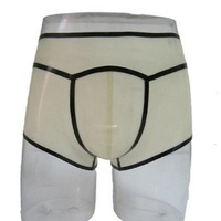 Latex shorts underpants handmade customization transparent color w sexy black strips