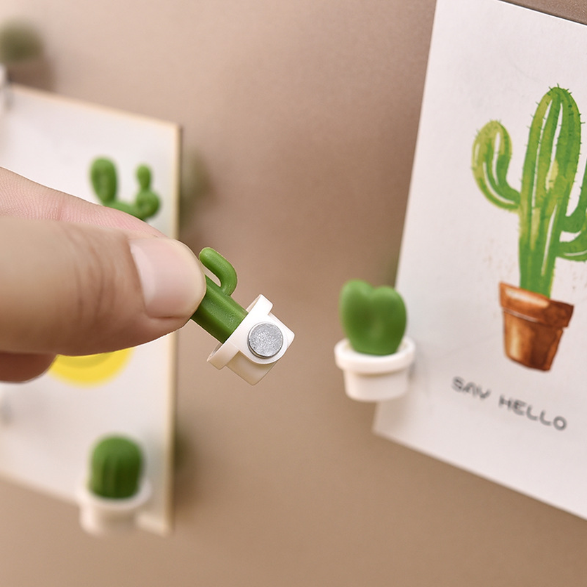 6Pcs Pack Kawaii Fridge Magnet Cute Cactus Succulent Plant Magnet Button Cactus Refrigerator Message Sticker Home Decoration New in Fridge Magnets from Home Garden