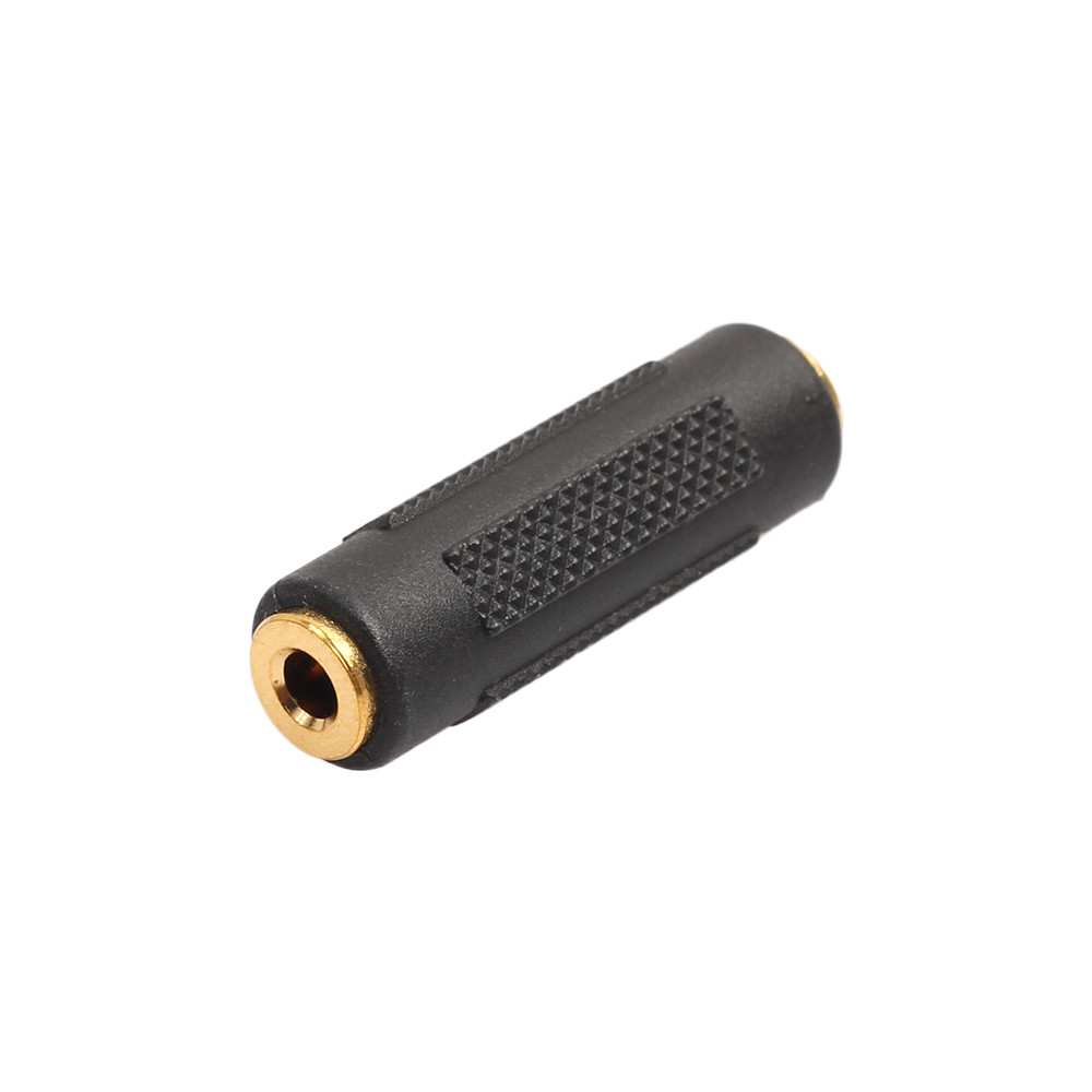 2 Pcs 3.5mm Stereo Audio Gold Plated Female To Female Jack Coupler Adapter Black Adapter Drop Shipping L1113#2