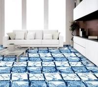 [Self Adhesive] 3D Blue Ice Cube 6 Non slip Waterproof Photo Self Adhesive Floor Mural Sticker WallPaper Murals Wall Print Decal