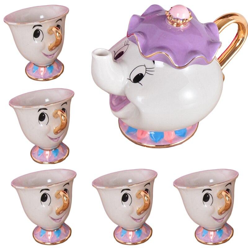 קריקטורה יפה וחיה תה סט גברת פוטס שבב כוס סט סוכר קערת ספל [1 סיר + 5 כוסות] האהבה יום מתנה