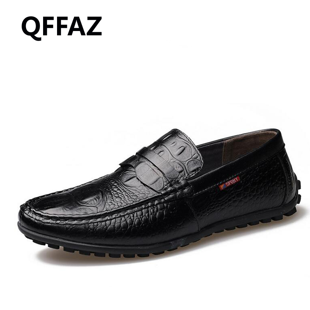 QFFAZ New Fashion Casual Driving Shoes Genuine Leather Loafers Men Shoes Man Loafers Luxury Flats Shoes Men Casual Shoes farvarwo genuine leather alligator crocodile shoes luxury men brand new fashion driving shoes men s casual flats slip on loafers