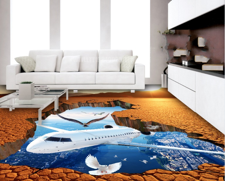 [Self-Adhesive] 3D Airplane Bird Beach 5 Non-slip Waterproof Photo Self-Adhesive Floor Mural Sticker WallPaper Murals Print
